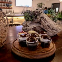 A display of delicious frosted cupcakes at 101 Wine Press restaurant off Highway 101 in Salinas