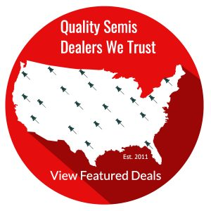 Red circle with Continental United States map with pin points indicating quality semi truck dealers