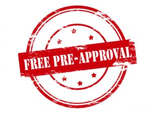Red and white free pre-approval graphic