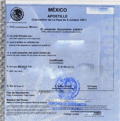 Mexican Apostille Sample, Ejemplo de Apostilla Mexicana
