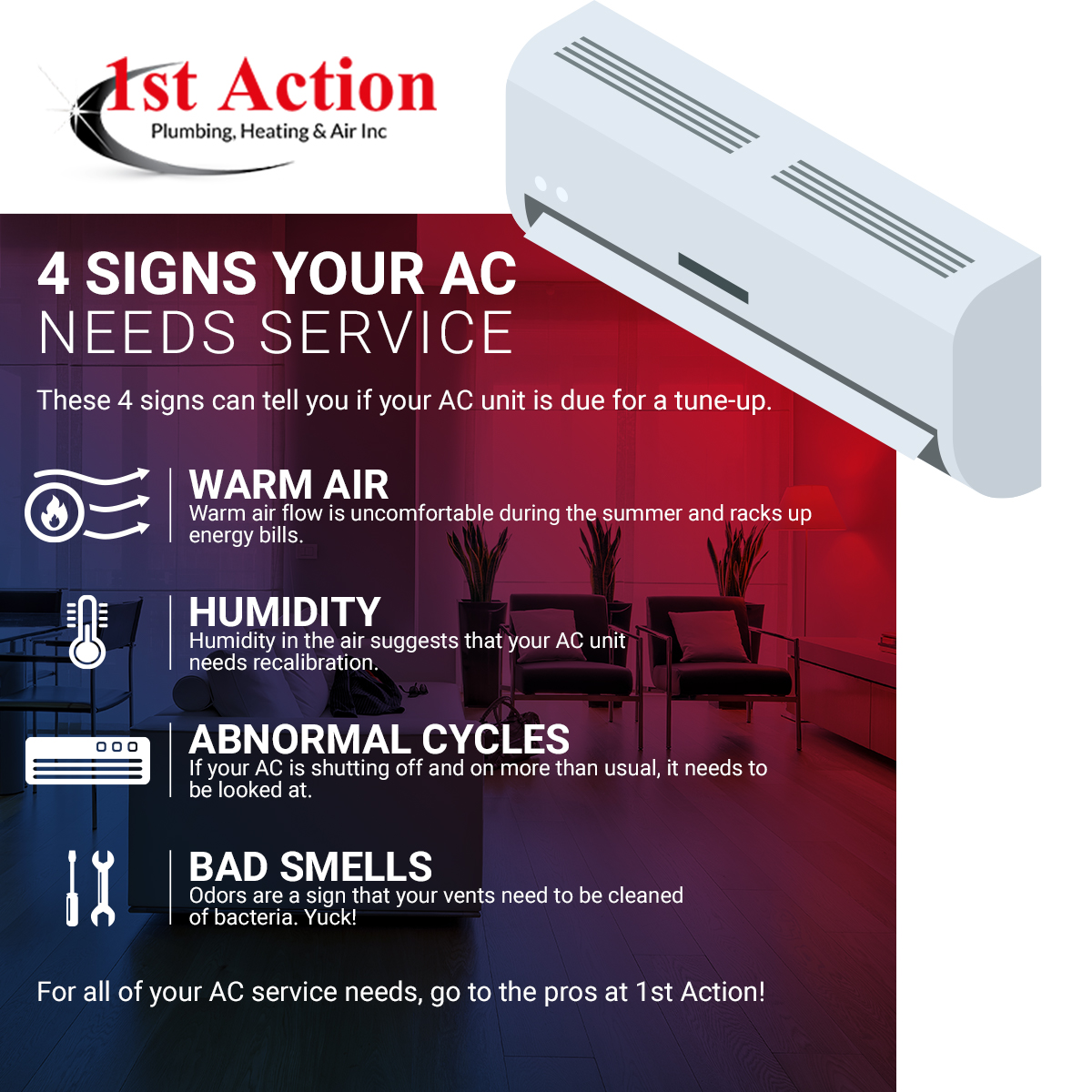 Four Signs Your AC Needs Service Infographic