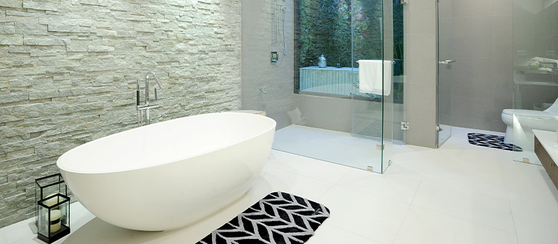 A nice, modern, white bathroom