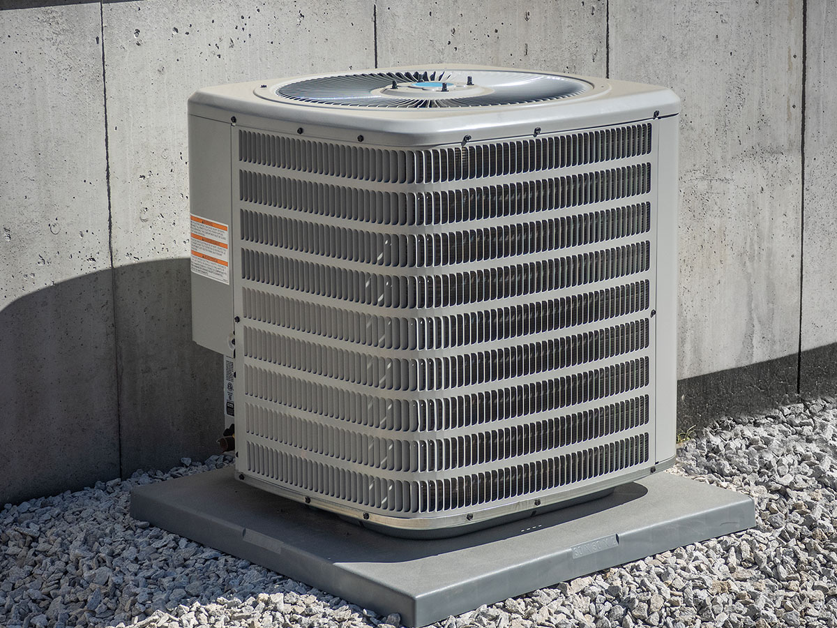 Air conditioning unit outside a building.