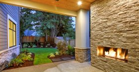 Image Of A Beautiful And Partially Outdoor Fireplace