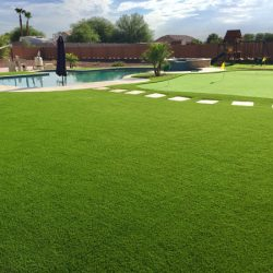 Artificial lawn with waterless grass putting green in Phoenix by 21st Century Grass