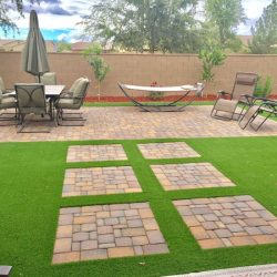 Artificial grass installation in Phoenix backyard by 21st Century Grass