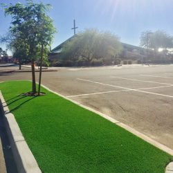 Commercial artificial grass for church parking lot in Phoenix by 21st Century Grass