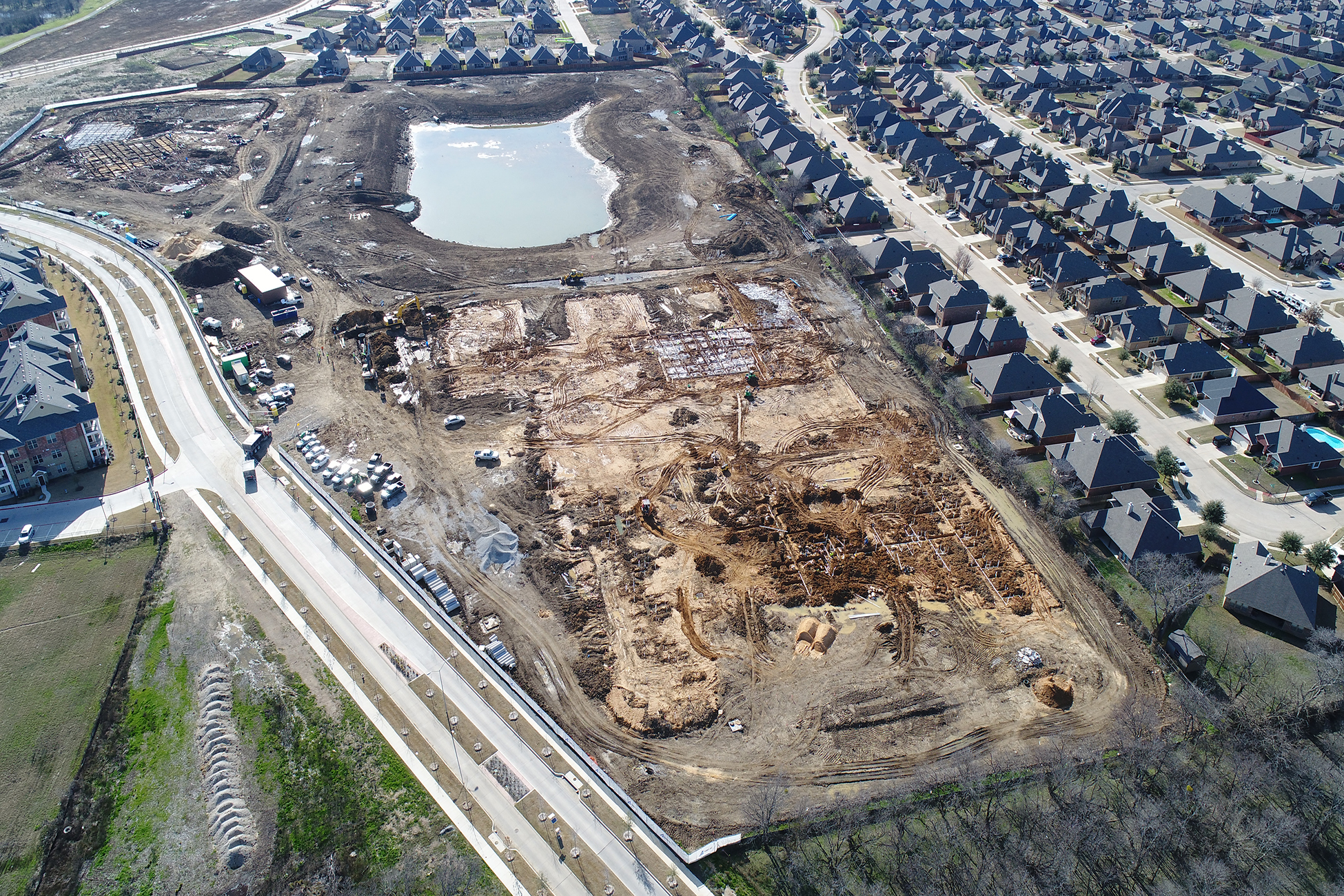 drone footage of a construction site; intended for investor updates