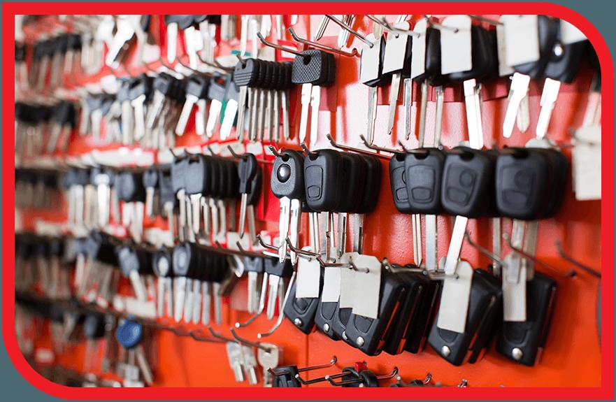 Wall of keys at a locksmith shop