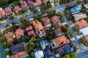 Aerial image of a neighborhood.