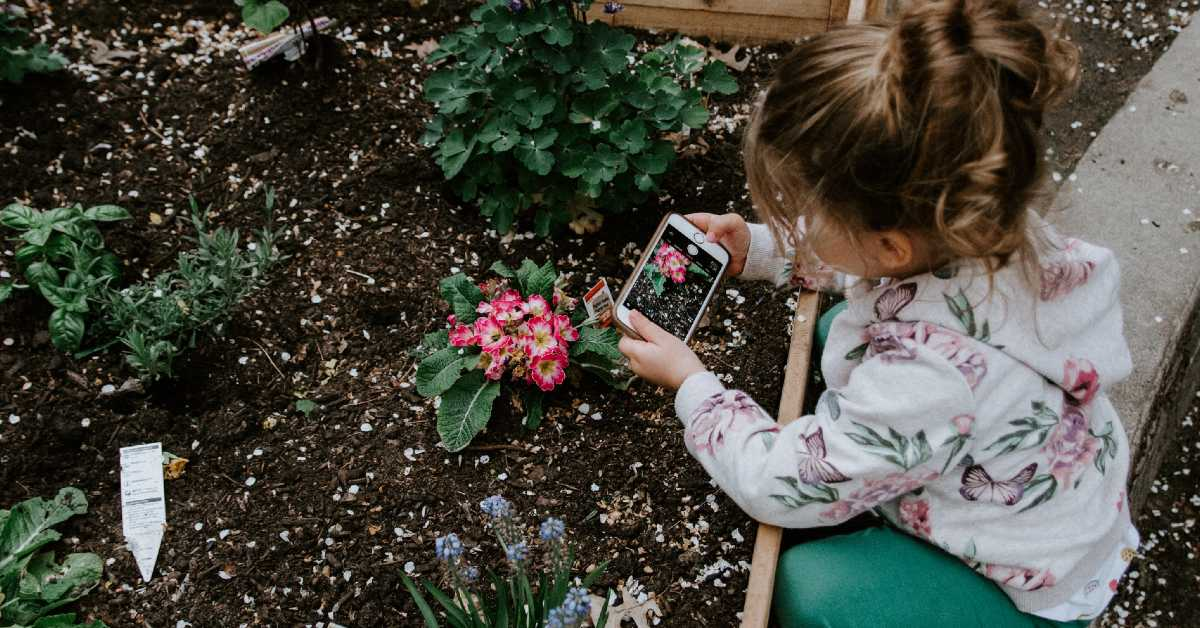 image of a girl taking a picture of flowers