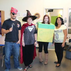 Teachers at the Autism Academy support Halloween by dressing up.