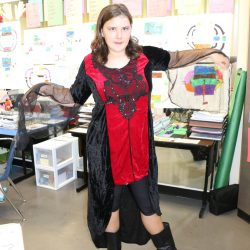 At the Autism Academy, a child with autism enjoys dresses up to celebrate Halloween.