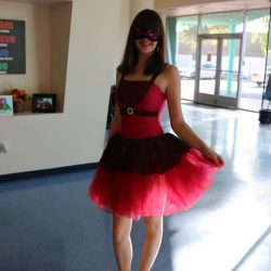 A girl with autism dresses up for Halloween at the Autism Academy, a school for autism.
