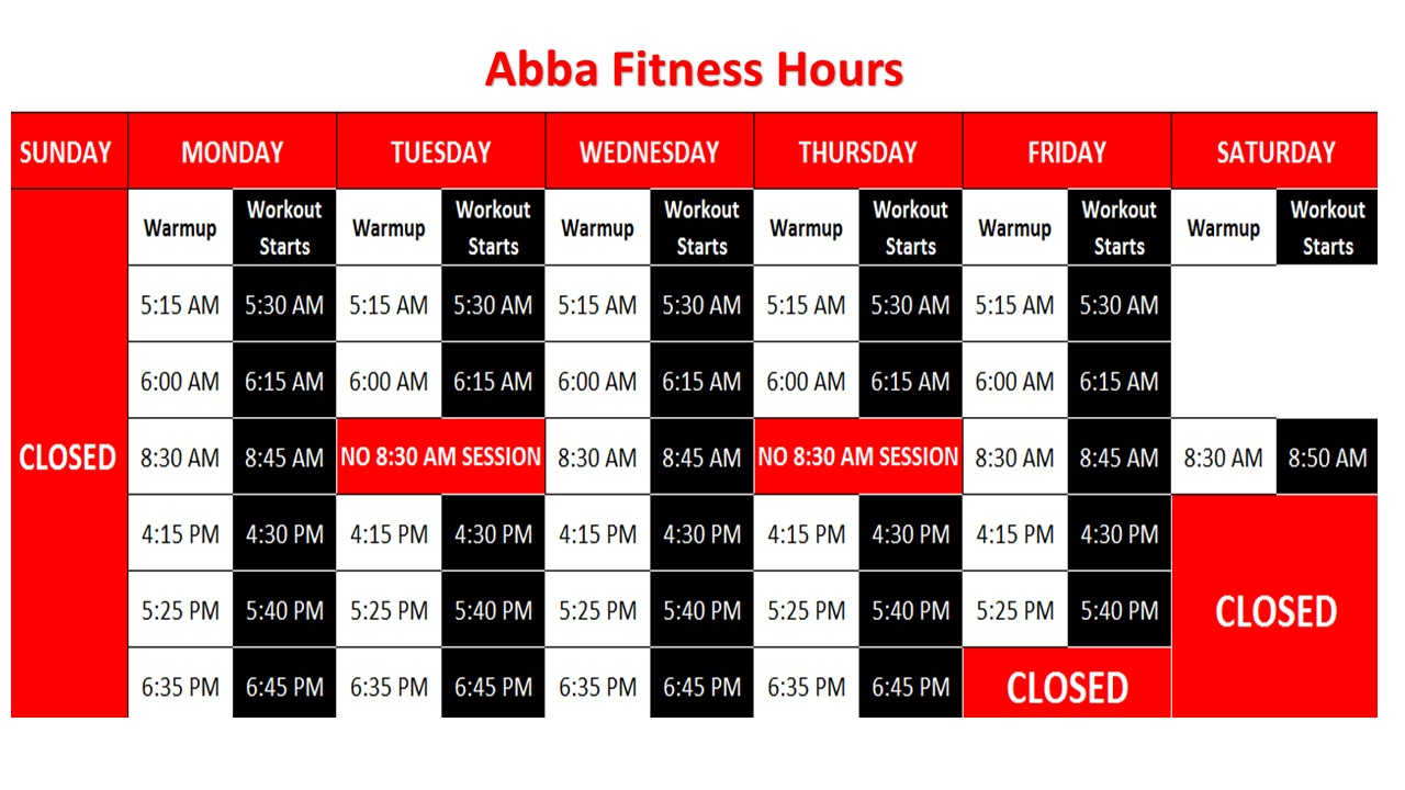 Abba Fitness Hours