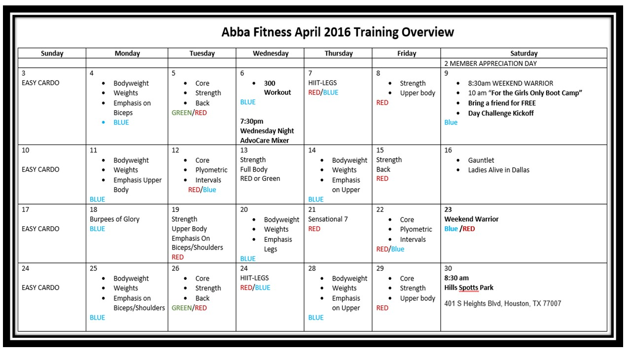 April Training Schedule