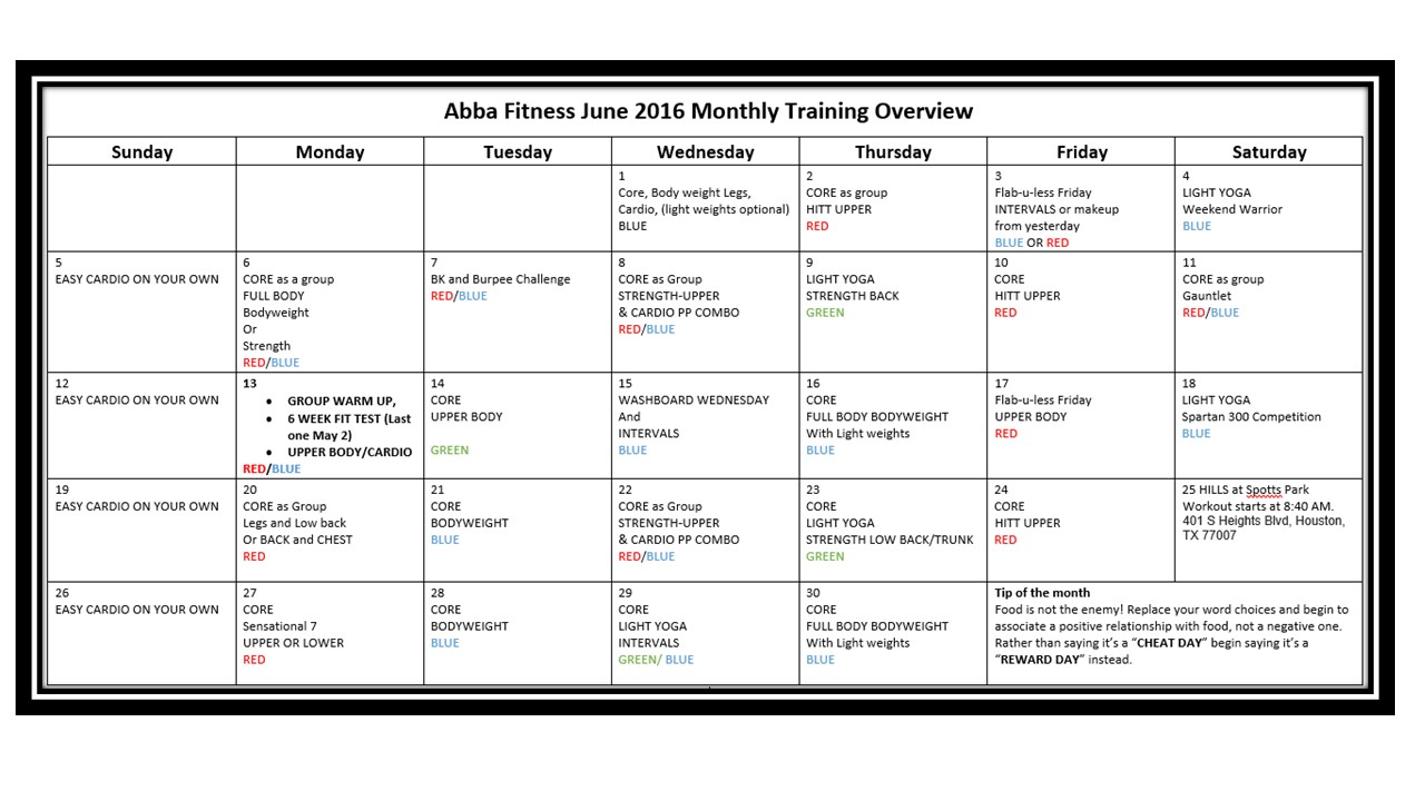 June 2016 Monthly training overview