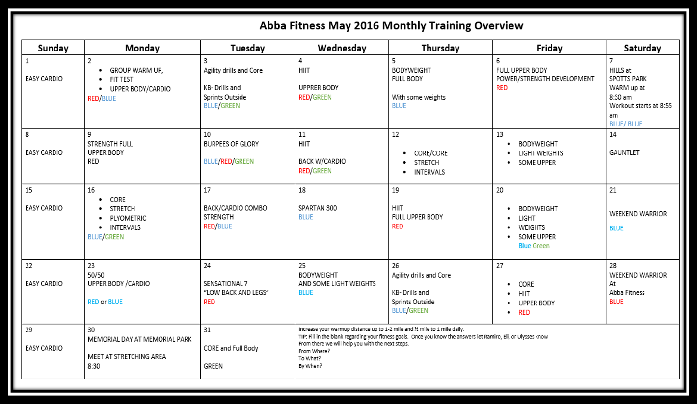 free monthly training program workout plan abba fitness houston