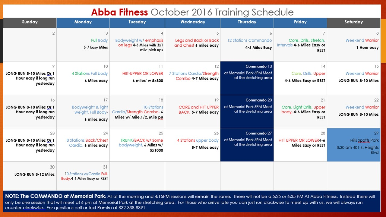 October trianing schedule 2016