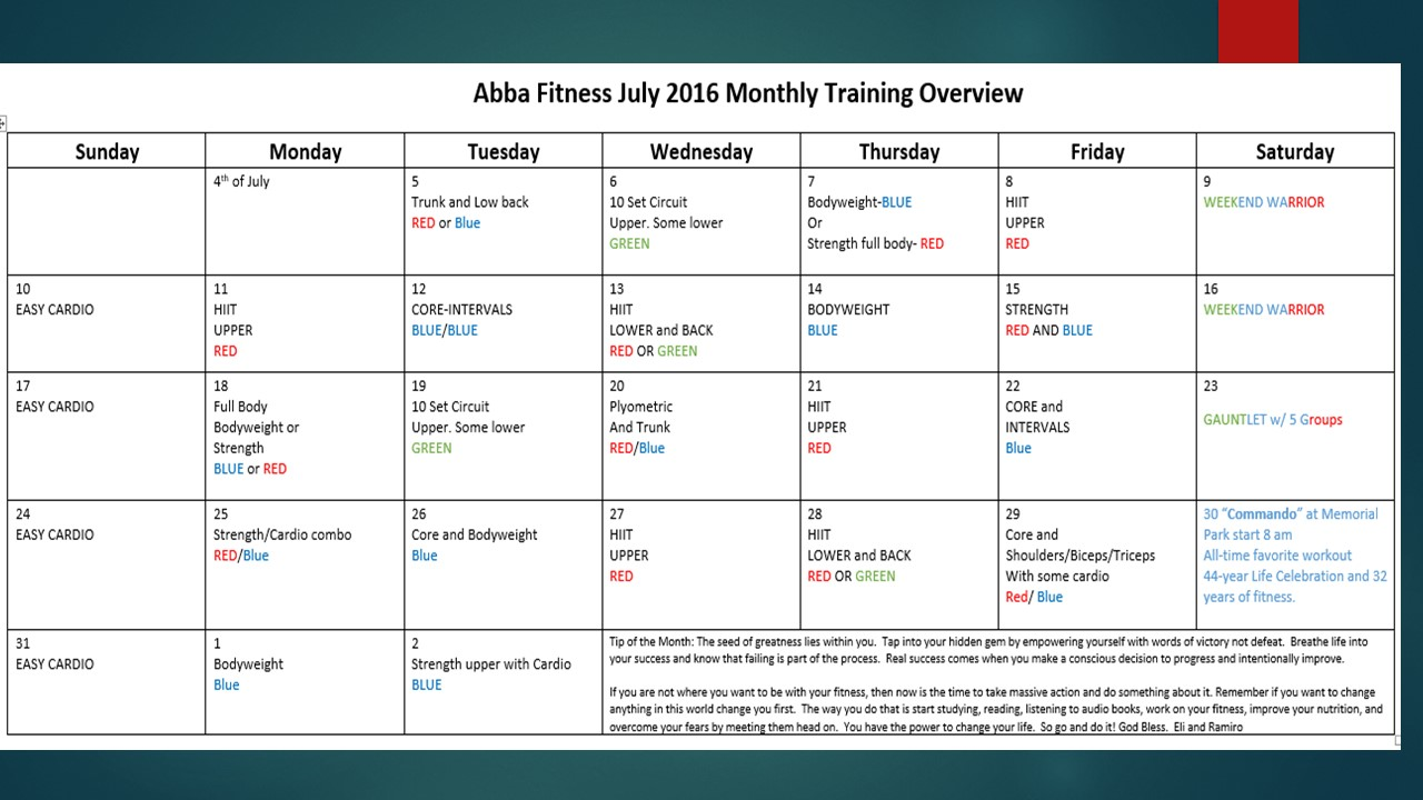 FREE MONTHLY TRAINING PROGRAM & WORKOUT PLAN | ABBA ...