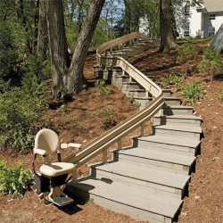 Curved Rail Stairlift and Stair Set