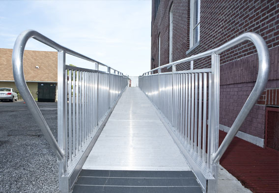 Close-Up on Entrance to Metal Wheelchair Ramp