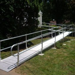 Metal Wheelchair Ramp Leading to Front Door