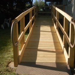 Wooden Wheelchair Ramp Leading to Backyard
