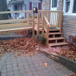 Wooden Wheelchair Ramp With Steps on Side