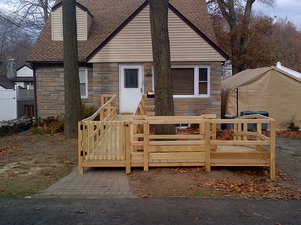 ... Wooden Wheelchair Ramp Leading To Stone House ...