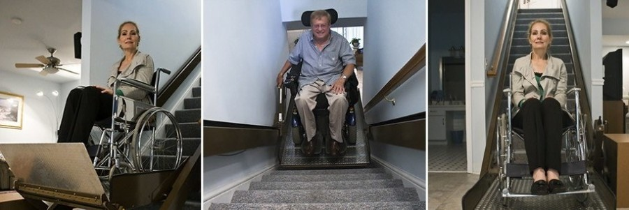 Three Images of People in Wheelchair Lifts