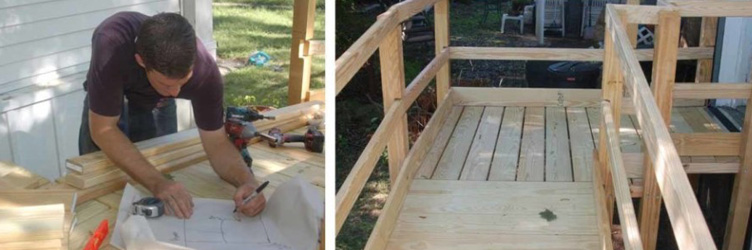 Man Installing Outdoor Wooden Wheelchair Ramp