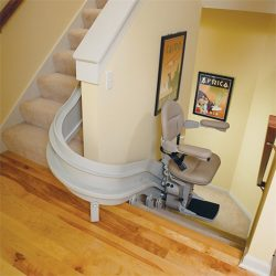 Indoor Curved Rail Stairlift Inside House