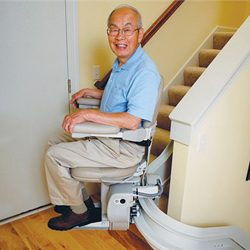 Three Images of Stairlift, Man Riding Stairlift, Seat at Top of Stairlift