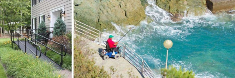 Outdoor Wheelchair Ramp And Man in Wheelchair Fishing