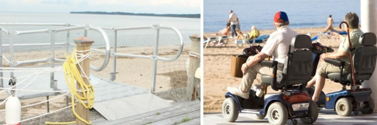 Wheelchair Ramp Leading to Beach, People in Wheelchairs Enjoying Beach