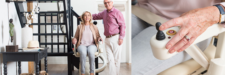 Elderly Couple Next to Stairlift, Woman Using Controls