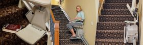 Photo Set Demonstrating Straight Rail Stairlift