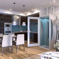 Modern Home With Elevator Door Open