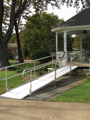 Metal Wheelchair Ramp to Deck