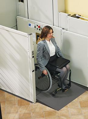 Woman Leaving Commercial Platform Lift