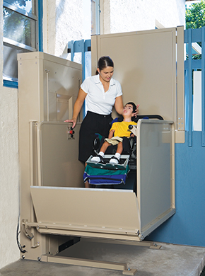 Child and Caretaker Using Outdoor Platform Lift