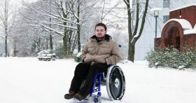 Man in a Wheelchair in the Snow