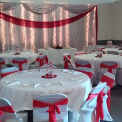 Beautiful Red Decorations at Indoor Wedding Venue ABQPartySpace in Albuquerque