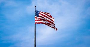 United States Flag Waving on Flagpole