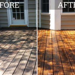 wooden deck that has been pressure washed