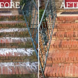 brick stairs pressure washed