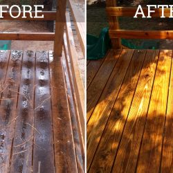wood deck pressure washing before and after