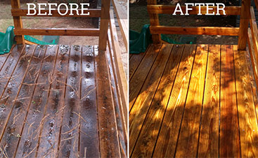 wood deck pressure washing before and after images