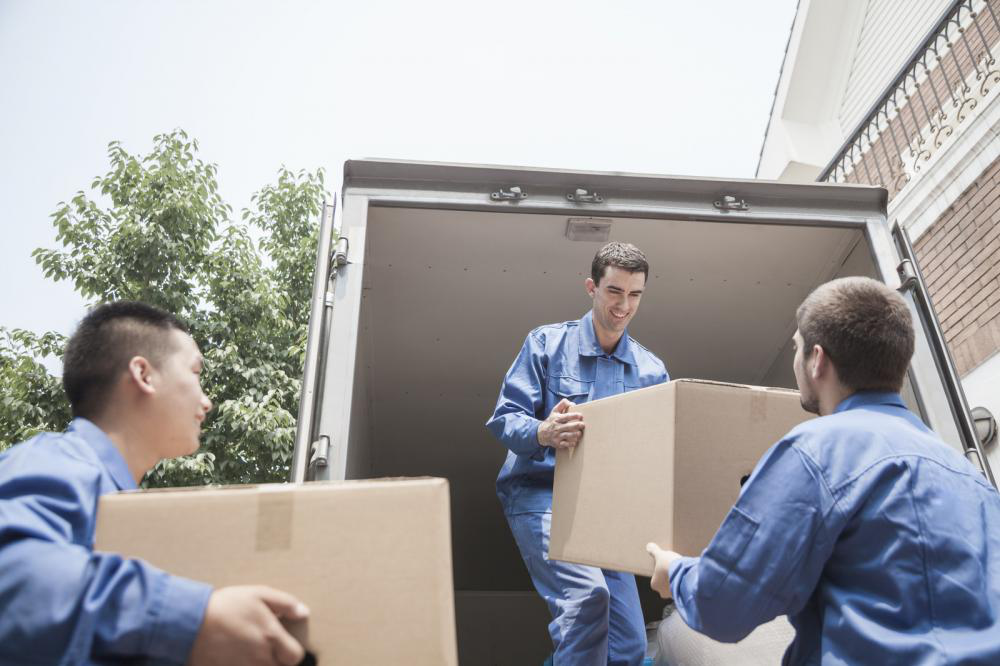 Unloading boxes from a van